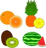 Vruchten - sinaasappel, ananas, kiwi, watermeloen Royalty-vrije Stock Foto