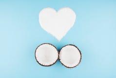 Vruchten van kokosnoten op blauwe achtergrond royalty-vrije stock foto