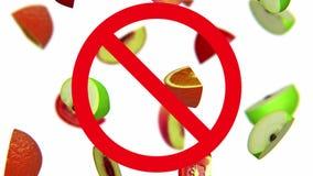 Vruchten in verbodsteken stock footage