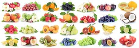Vruchten verse oranje die de appelbessen van de fruitinzameling op w worden geïsoleerd Royalty-vrije Stock Afbeeldingen