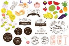 Vruchtensap en de Vectorillustratie van het van het Stempelembleem en Pictogram Royalty-vrije Stock Foto's