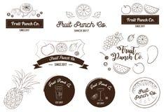 Vruchtensap en de Vectorillustratie van het van het Stempelembleem en Pictogram Stock Fotografie
