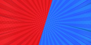 VS Comparison Fighting backgrounds in the flat background of comics. In red and blue. Designed from the semi-tone. Illustrator stock illustration