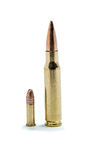 .308 vs .22 Lr Ammunition Royalty Free Stock Images
