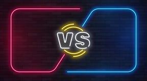 Vs neonowy Versus batalistyczny gemowy sztandar z neonowym opróżnia ramy Bokserskiego dopasowania pojedynek, odżużlać turniejową  ilustracja wektor