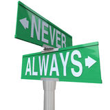 Always Vs Never 2 Two Way Street Road Signs Royalty Free Stock Photo