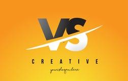 VS V S Letter Modern Logo Design with Yellow Background and Swoosh. VS V S Letter Modern Logo Design with Swoosh Cutting the Middle Letters and Yellow royalty free illustration