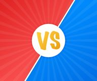 VS Versus Blue and red comic design. Battle banner match, vs letters competition confrontation. Vector illustration. VS Versus Blue and red comic design. Battle royalty free illustration