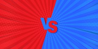 VS Versus Blue and Red Comic Design. Vector illustration. Mega is an idea for backgrounds, retro styles and comics vector illustration