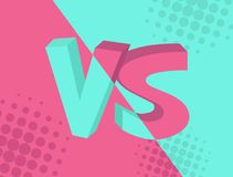 VS Versus inscription on turquoise and pink background, comic design. Vector illustration.  Stock Image