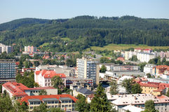 Vsetin city. Aerial or high angle view of Vsetin city with forest in background; Czech Republic Stock Image