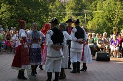Vsetin folklore festival 2016. Traditionally, Vsetin folklore festival was interested in the appearance of foreign ensembles, which at first sight attracted Royalty Free Stock Photography
