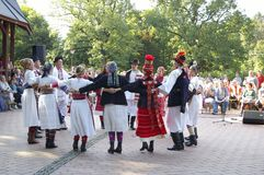 Vsetin folklore festival 2016. Traditionally, Vsetin folklore festival was interested in the appearance of foreign ensembles, which at first sight attracted Stock Photo