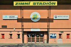 Vsetin, Tschechische Republik - 2. Juni 2018: Eingang in Eishockey Stadion genanntes Na Lapaci ist nach Jahreszeit im geschlossen Lizenzfreie Stockfotografie
