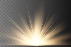 Warm light Sun rays. Beams on transparent background. Glow rays of light. Vector illustration vector illustration