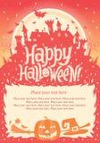 Víspera de Todos los Santos feliz Cartel, tarjeta o fondo de Halloween para la invitación del partido de Halloween Fotografía de archivo libre de regalías