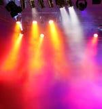 Vspotlights con aria fumosa Immagini Stock Libere da Diritti