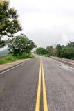 Våt huvudvägvägkurva bland träd med regnmolnet Royaltyfri Foto