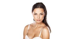 våt kvinna för hår Arkivfoto