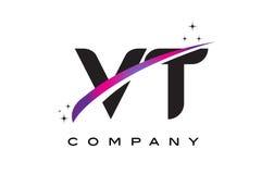 VT V T Black Letter Logo Design with Purple Magenta Swoosh Royalty Free Stock Photos