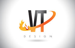 VT V T Letter Logo with Fire Flames Design and Orange Swoosh. Stock Photo