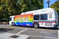 VTA bus, Sunnyvale, California stock images