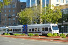VTA Light Rail in San Jose, California, USA. VTA Light Rail at Convention Center Station in downtown San Jose, California, USA. VTA Light Rail is a light rail Royalty Free Stock Images