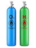 Väte- och syrecylindrar med komprimerad gas Arkivbilder