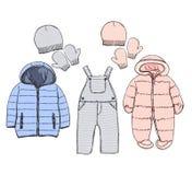 Vêtements d'hiver pour le bébé Photographie stock libre de droits