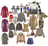 Vêtements de mode de ramassage d'isolement sur le blanc Images stock