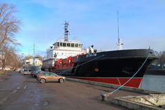 VTN-74 - the multipurpose vessel of complex port service of the project 03180. BALTIYSK, KALININGRAD REGION, RUSSIA - FEBRUARY 9, 2015: VTN-74 - the multipurpose stock photo