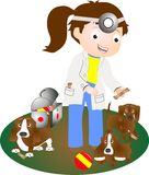 Vétérinaire de femmes, et un groupe de chiots. Images stock