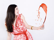 vätskemålarfärgfärgstänkkvinna Arkivfoton