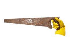 A vu des gants en caoutchouc de jaune Photos stock