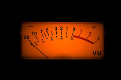 Vu meter. Of a professional preamp stock photo