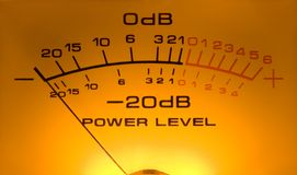 Vu Meter, the DB power. A fantastic old good fashioned VuMeter Stock Photography