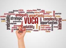 VUCA-Wortwolke und -hand mit Markierungskonzept lizenzfreie abbildung