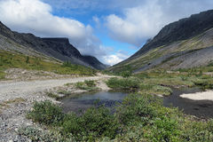 Vudyavrjok river in Khibiny Mountains, Russia Stock Images