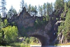 Vue à angles de tunnel circulaire en montagne Image stock
