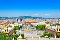 Vue à Barcelone sur Placa De Espanya Photographie stock