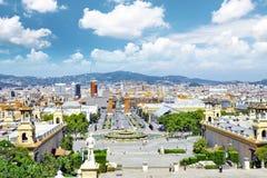 Vue à Barcelone sur Placa De Espanya Images stock