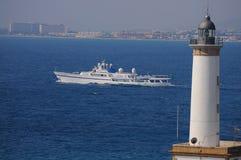 Vue à bord de Superyacht de navigation de luxe dans Ibiza Espagne Photo libre de droits