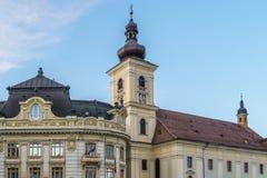 Vue à l'hôtel de ville de Sibiu, Roumanie Photos libres de droits