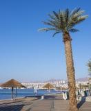 Vue à la Mer Rouge de la plage d'or d'Eilat photographie stock libre de droits
