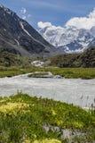 Vue à la montagne de Beluha de la vallée d'Akkem, Altai, Russie Photographie stock
