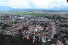 Vue à la ville de Rushnov de la forteresse images libres de droits