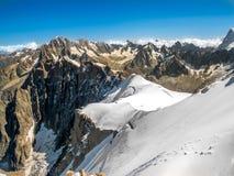 Vue à partir de dessus d'Aiguille du Midi Photographie stock