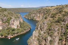 Vue à partir de dessus de canyon de Furnas - Capitolio - Minas Gerais Images stock