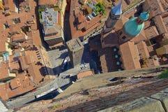 Vue à partir de dessus de tour d'Asinelli Photographie stock
