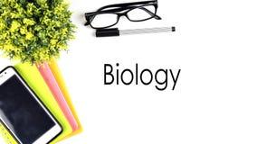 VUE À PARTIR DU DESSUS, TABLE FONCTIONNANT AVEC LE ` DE BIOLOGIE DE ` DES TEXTES illustration stock
